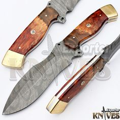 Knives Exporter 1 of Kind Australian Wood Handle Damascus Hunting Knife KE-353 #KnivesExporter