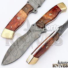 Knives Exporter 1 of Kind Australian Wood Handle Damascus Hunting Knife KE-353 #KnivesExporter