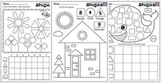 Kindergarten and Mooneyisms: FREE Shape and Counting Worksheets