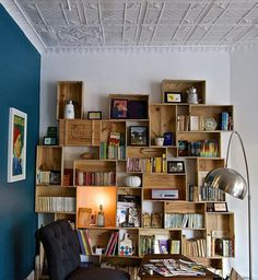 An incredible bookshelf made from upcycled crates.