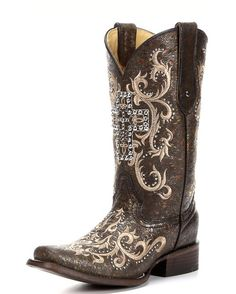 Corral Women's Black/Silver Studded Cross Square Toe Boot - C2859