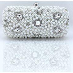 White Pearl Beaded Hard Bridal Wedding Evening Clutch Purse Bag Wallet  SKU-1110624
