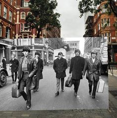 Rolling Stones Awesome photos of old school icons merged into present day Overlapping Photos Merge Historic Scenes from the Past with the Present - My Modern Met The Rolling Stones, Photo Merge, Amazing Optical Illusions, Then And Now Pictures, Montage Photo, Past Present Future, A Moment In Time, Time Art, Photomontage