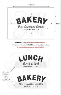 BAKERY, Pies, Cupcakes, Cookies mixes and matches with LUNCH : Funky Junk's Old Sign Stencils / funkyjunkinteriors.net