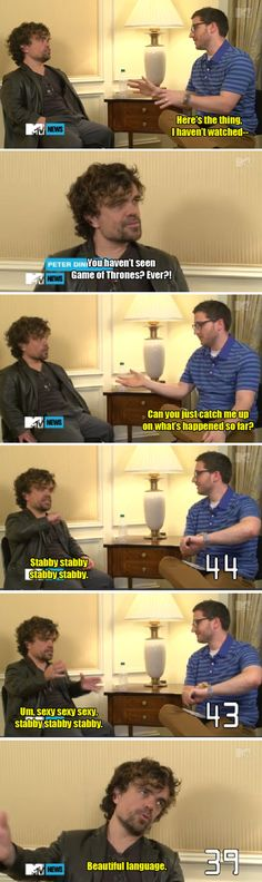 "Peter Dinklage's recap of all the seasons: | 19 Jokes To Prepare You For ""Game Of Thrones"" Season 6"