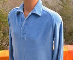 vintage 70s VELOUR shirt light blue collar by skippyhaha on Etsy, $22.00