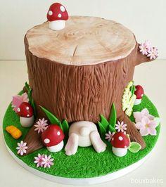 Tree stump bunny rabbit cake More