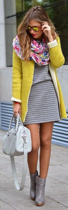 Hello Spring! Striped Dress + Floral Scarf + Bright Jacket.