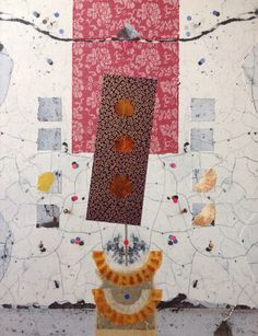 Nino Bellantonio. 'Udaipur' (Collage with mixed media and cold wax on canvas board, 36cm x 46cm; 49cm x 59cm in archival quality frame) SOLD