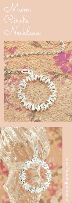 Mom circle medallion necklace in sterling silver with cubic zirconia crystals inside heart-shaped letter O's.