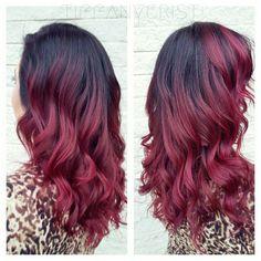 Raspberry hair pravana red burgundy marsala strawberry