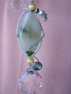 Feng shui crystal prism suncatcher with Healing Agate, window ornament, garden art, free shipping