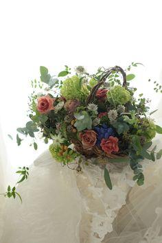 バスケットブーケ 絵本と収穫祭 代官山PACHON様へ : 一会 ウエディングの花