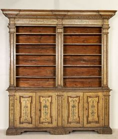 Rare Antique Original Painted Large Bookcase Display Cabinet, Italy Circa 1780-1800 Large Bookcase, Muted Colors, Rare Antique, Vintage Cabinet, Italy, Display, The Originals, Antiques, Wood