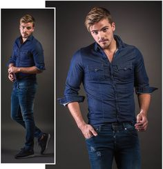 Denim Button Up, Button Up Shirts, Jeans, Fall Winter, Men Casual, Mens Tops, Style, Fashion, Nightgown