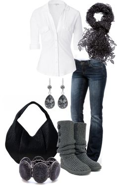 Denim and gray - love the boots