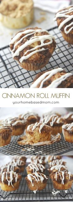 Cinnamon Roll Muffins are full of cinnamon goodness and no yeast is required! Cinnamon Roll Muffins are full of cinnamon goodness and no y. Zucchini Muffins, Muffins Blueberry, Almond Muffins, Muffin Recipes, Brunch Recipes, Cake Recipes, Dessert Recipes, Breakfast Recipes, Breakfast Pastries