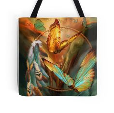 Dream Catcher - Spirit Of The Butterfly wearable art tote bag by Carol Cavalaris.