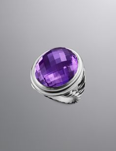 David Yurman- color classic -web-May.2013,USD 1695, •Sterling silver.  •Faceted amethyst.  •24 x 20mm stones.  •Split shank ring.