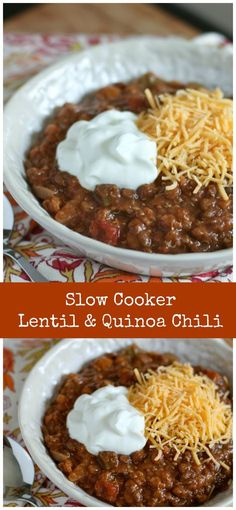 Hearty Slow Cooker Lentil and Quinoa Chili - a wonderful vegetarian dish perfect for cool weather!