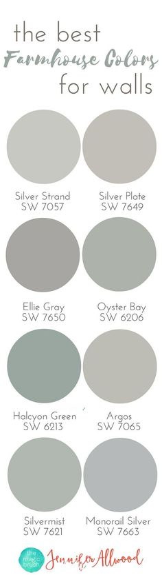Farmhouse Paint Colors. The Best Farmhouse Paint Colors. Sherwin Williams SW 7057 Silver Strand. Sherwin Williams SW 7649 Silver Plate. Sherwin Williams SW 7650 Ellie Gray. Sherwin Williams SW 6206 Oyster Bay. Sherwin Williams SW 6213 Halcyon Green. Sherwin Williams SW 7065 Argos. Sherwin Williams SW 7621 Silvermist. Sherwin Williams SW 7663 Monorail Silver #SherwinWilliamsSW7057SilverStrand #SherwinWilliamsSW7649SilverPlate #SherwinWilliamsSW7650EllieGray #SherwinWilliamsSW6206OysterBay…