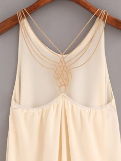 Shop Beaded Racerback Chiffon Top - Apricot at ROMWE, discover more fashion styles online. Tight Tank Top, Cropped Tank Top, Tank Tops, Boho Outfits, Pretty Outfits, Spring Outfits, Fashion Days, Womens Fashion, Feminine Style