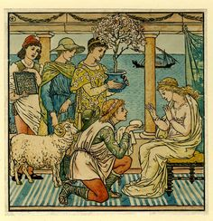 Walter Crane, The four presents, illustration to 'Baby's Bouquêt', 1878; interior with columns and view to the sea, a woman sitting at right receives gifts of an egg, a tree, a sheep and a tablet. 1845-1878