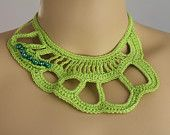 Light Grey Freeform Crochet Necklace by lucylev on Etsy