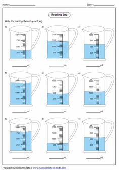 Reading Jug Worksheets Capacity Liquid Volume