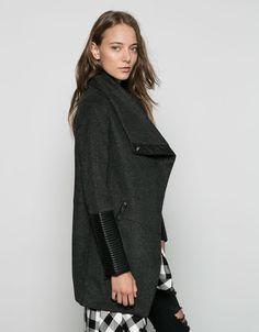 Sobretudo Bershka lã detalhe couro sintético - Sobretudos e blusões - Bershka Portugal