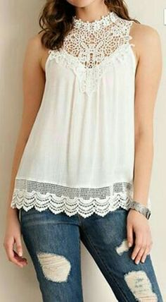 Solid sleeveless top featuring lace yoke and crochet hem trimming. Single button key hole back detail. Fit Tip: Fi Lacey Tops, Sheer Lace Top, White Lace, Cream White, Casual Dresses, Outfits, Clothes, Style, Crochet Yoke