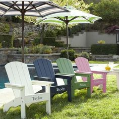 Adirondack Chairs - These pint-size Adirondack chairs come in a rainbow of colors. Adding your child's name is an extra special touch.
