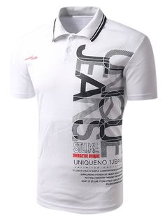 $11.91 Turn-down Collar Letter Print Short Sleeves Men's Polo T-Shirt