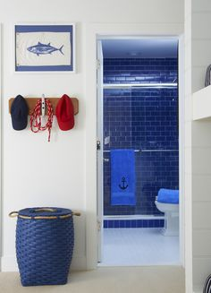 Kensett Piper - Lynn Morgan Design childrens bathroom, beach style without being too thematic Nautical Interior, Nautical Home, Nautical Design, Blue Subway Tile, Blue Tiles, Childrens Bathroom, Bathroom Kids, White Bathroom, Coastal Living