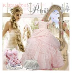 """""""Rapunzel"""" by prettyasapicture ❤ liked on Polyvore featuring Massif, Pixie, Jon Richard, beaded clutches, chandelier earrings, satinee gown, chiffon shoes and tiaras"""
