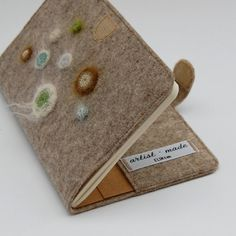 Handmade felt moleskine journal cover, moleskine art with green crochet moulds by ELIN on Etsy, $69.64