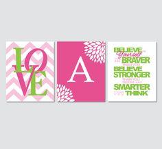 Believe In Yourself Love Monogram with Chevrons Girls Wall Art // Lime Pink Aqua Black Purple // Print Set of (3) - 8 x 10's Bedroom Decor