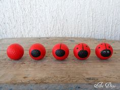 Steps of painting the golf ball ladybugs