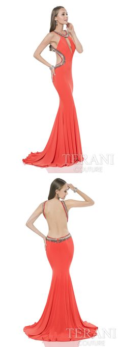 Terani Couture fitted halter sheath gown with crystal embellishments along the neckline and sides. Dress is finished with a keyhold cutout at the bust Style: 1612P0596 #prom #promdress #orangedress #openbackdress #sleevelessdress #prom2k16 #prom2016 #classypromdress #longpromdress #eveninggown #terani #teranicouture