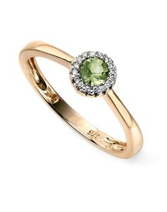 9ct Yellow Elements Gold Diamond and Peridot cluster Ring