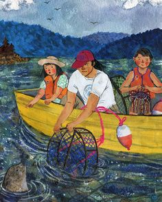 Crabbing For July in the 2016 Taproot Magazine wall calendar. Watercolor, collage, colored pencil. ©Phoebe Wahl 2015