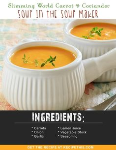 Welcome to my latest Slimming World Soup and this soup maker recipe is for carrot and coriander. One of my true favourites carrot and coriander soup can give a… Slimming World Soup Recipes, Slimming World Speed Food, Vegan Slimming World, Slimming Eats, Slimming Word, Carrot And Coriander Soup, Carrot Soup, Speed Soup, Speed Foods
