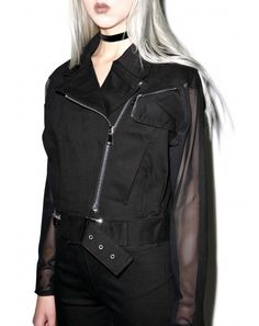 #DollsKill #lookbook #photoshoot #model #Widow #shadow play #jacket #moto #black #sheer #longsleeve #zipup