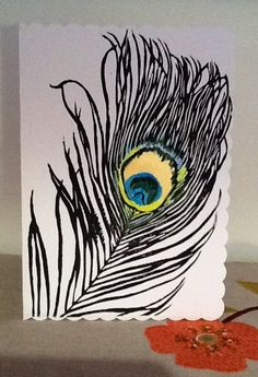 Peacock feather lino printed hand painted by SilkenTentPrints, $4.00