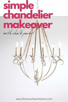 Looking for a way to transform that outdated chandelier? This easy DIY chalk paint chandelier makeover will bring your chandelier from drab to fab! Simple Chandelier, Chandelier Makeover, Kitchen Chandelier, Diy Furniture Easy, Diy Furniture Projects, Furniture Makeover, Diy Projects, Vintage Industrial Lighting