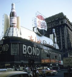 Broadway, New York City, 1958. This is one of the few blocks in Times Square that has not yet been razed for an ugly skyscraper