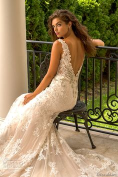 eve of milady boutique fall 2015 beautiful sheath wedding dress lace straps v neckline beaded lace embroidery low cut open v back 1553  -- Eve of Milady Fall 2015 Wedding Dresses