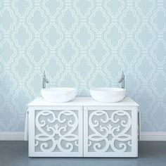 Quatrefoil Aqua/White Removable WallPaper is peel and stick. It is the easiest way to decorate any room, nook or cranny. Easy to remove and reuse and require no tools. No fuss, no mess!