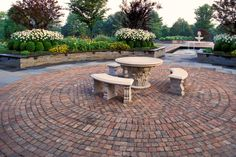 appealing circle brick pathway for backyard patio ideas with cozy