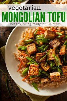 Mongolian Tofu is a vegan version of your favorite take-out dish that is ready in about 15 minutes, easy to make, and delicious.